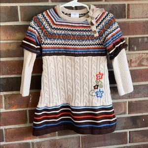 Hanna Andersson Fair Isle Cable Knit Sweater Dress